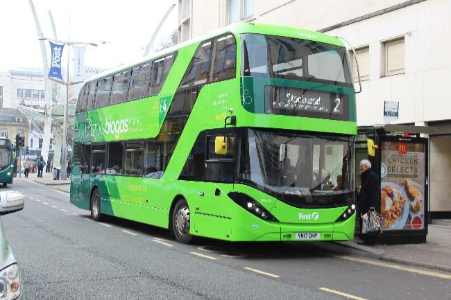 A biogas fuelled bus.